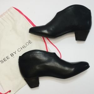 NEW See By Chloe 8AUS black leather ankle boots